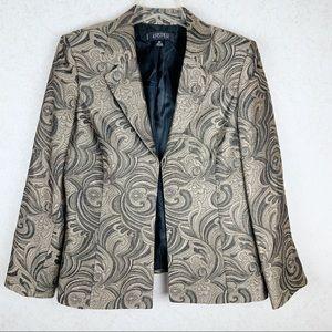 Kasper cream floral swirl pattern blazer